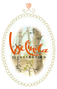 ovaal logo van belinda-illustration met berkenbomen en eekhoorn
