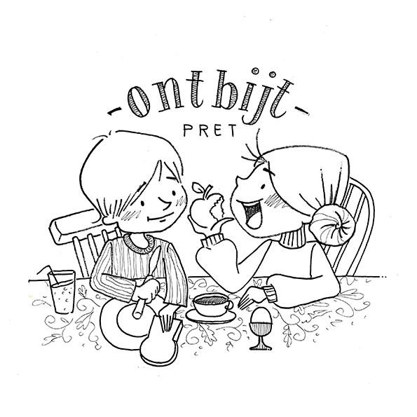 jongen en meisje aan de ontbijttafel etend aan een appel