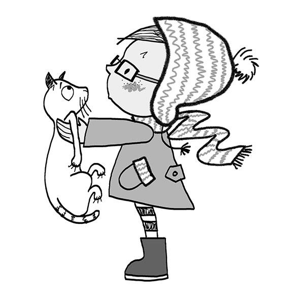 meisje van de zijkant met een kat in haar handen