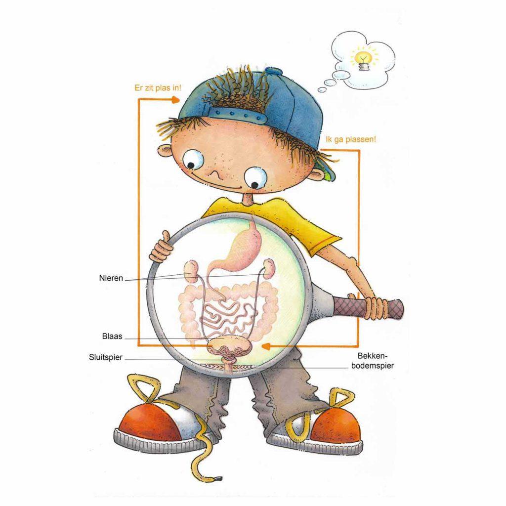 plasschema geïllustreerd in een jongen met blauwe pet