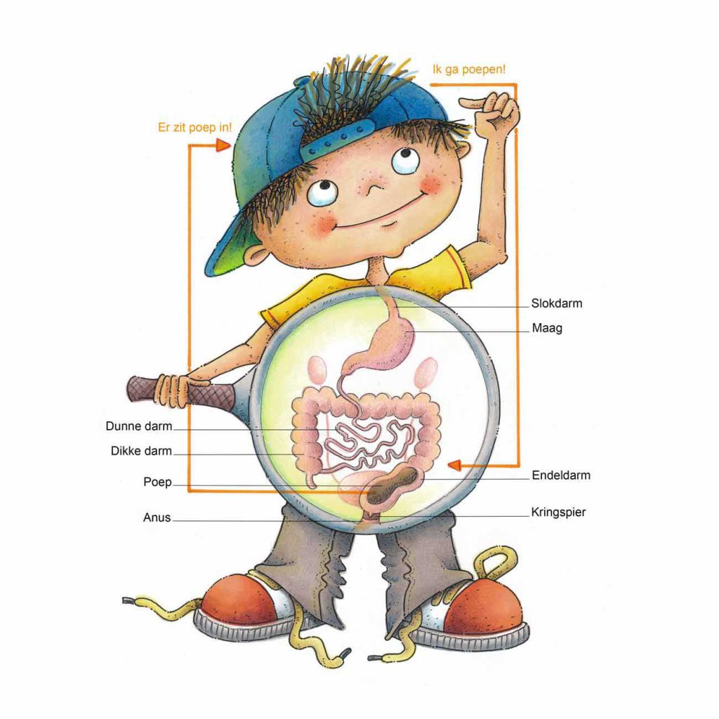 poepschema geïllustreerd in een jongen met blauwe pet