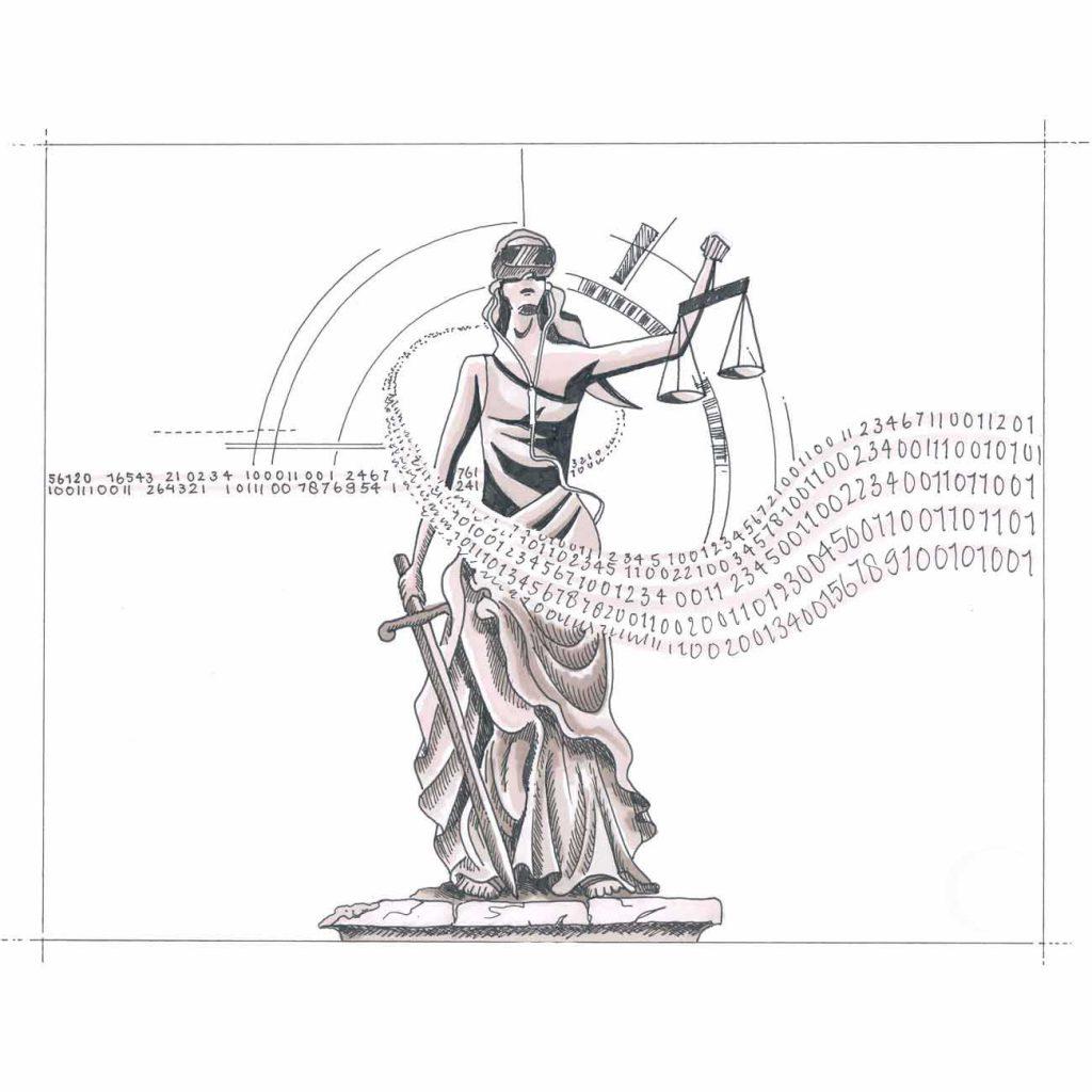 vrouwe justitia met weegschaal en blinddoek en zwaard met matrixtekst