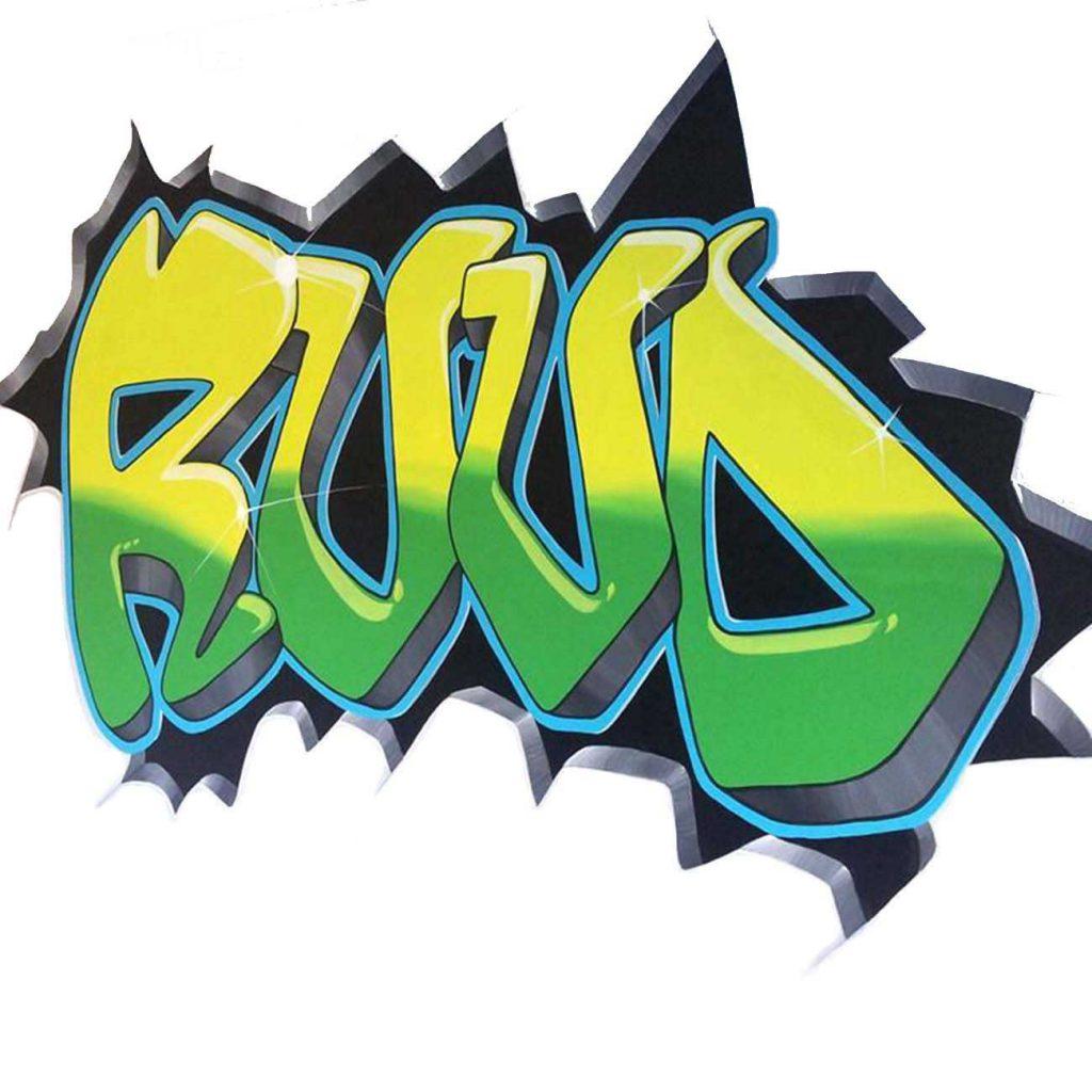 graffititekst met jongensnaam in groen en geel tinten in een gebroken muur