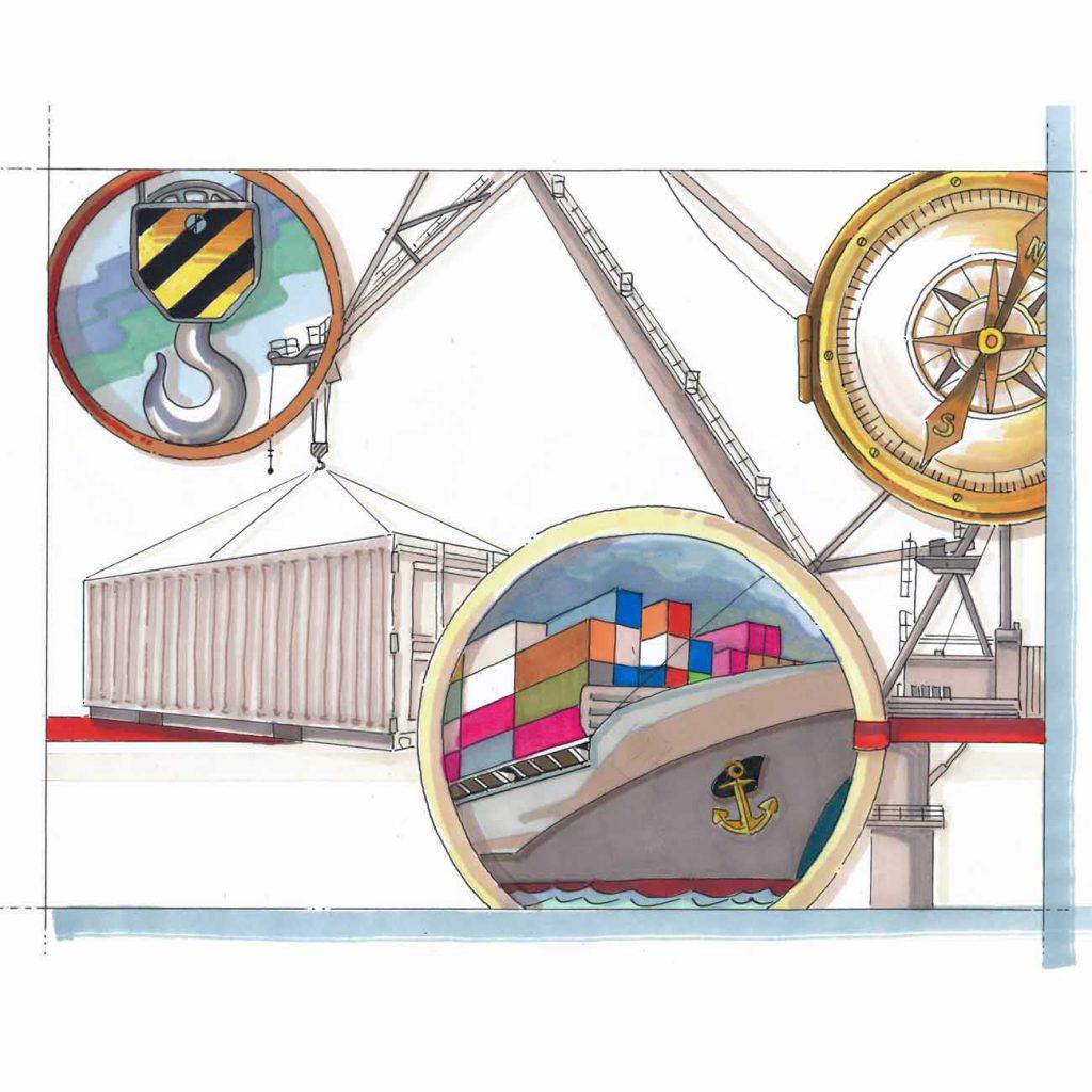 visual van een scheepswerf en schematische cirkels met afbeeldingen