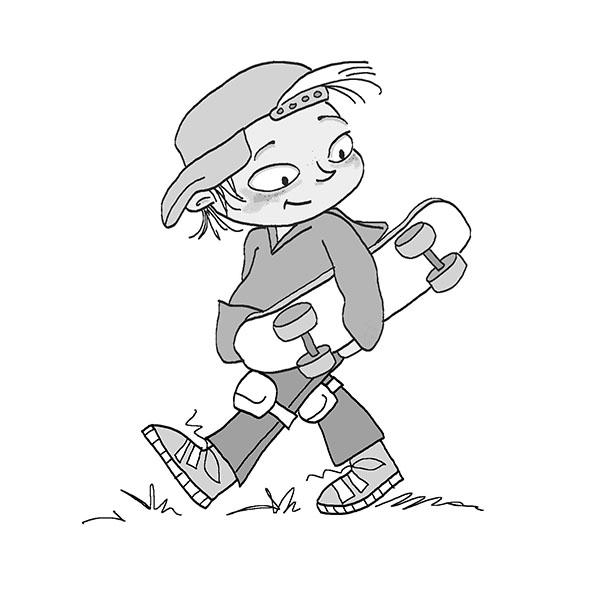 skaterboy met skatebord in zwart wit
