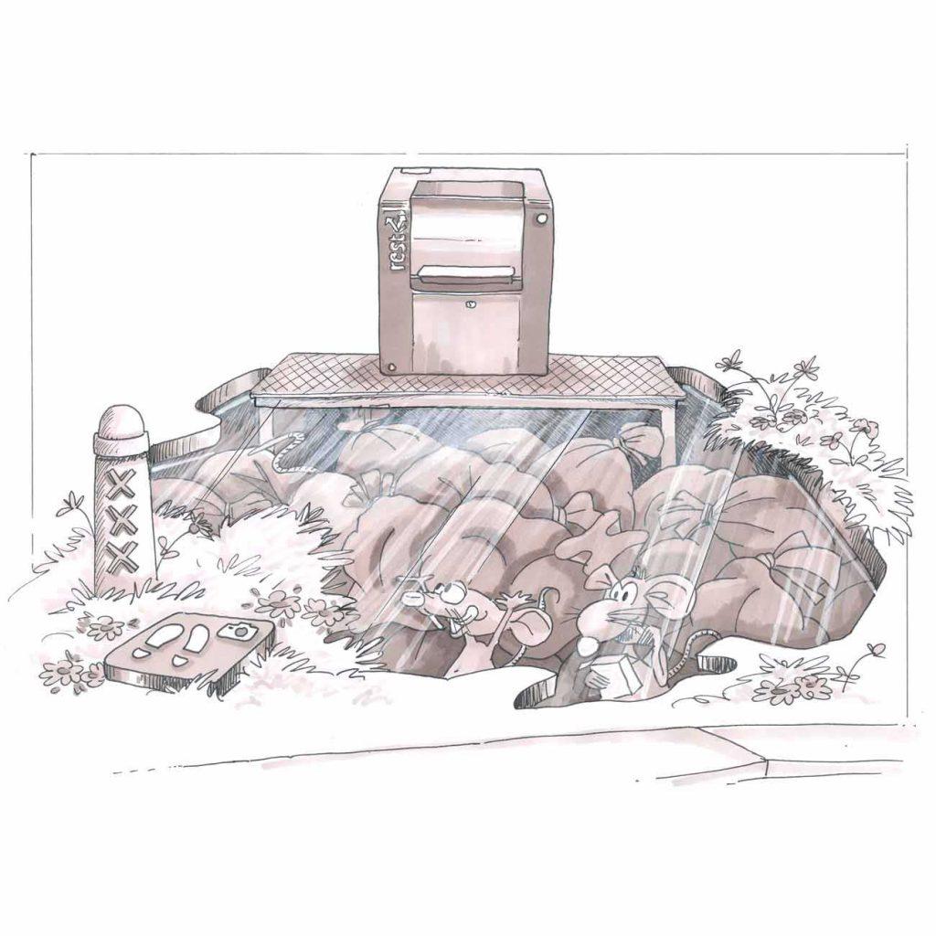 visual van een ondergrondse container met vuilnis en ratten