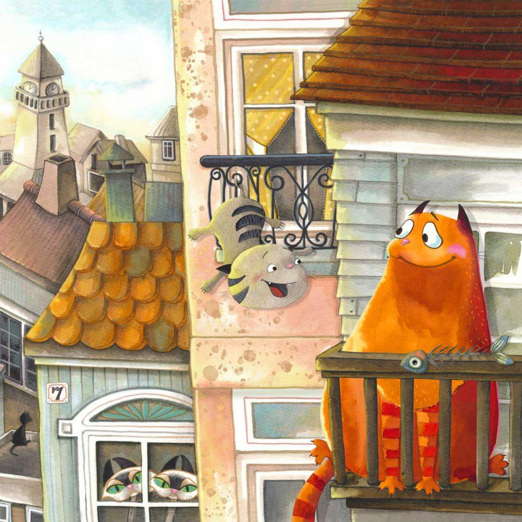poes en snoezie wonen naast elkaar in een huis