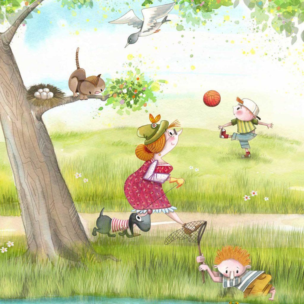 dame loopin in het park met hond terwijl poes in de boom de eieren uit het nest wil halen