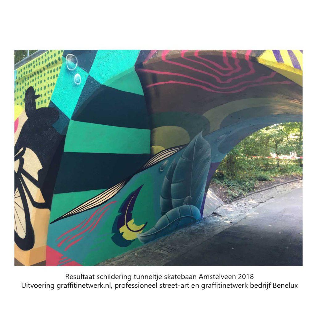 uitvoering van tunneltje skatebaan amstelveen door graffitinetwerk